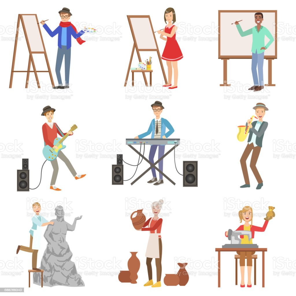 People With Artistic Professions Set Of Illustrations vector art illustration