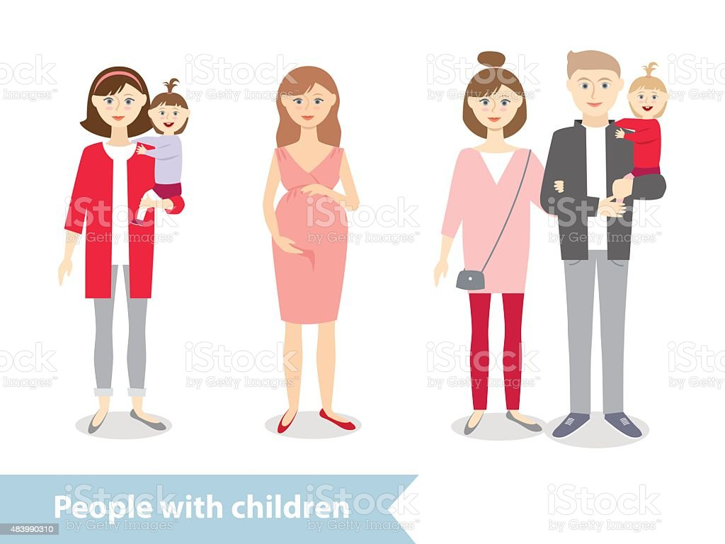 people with baby vector art illustration