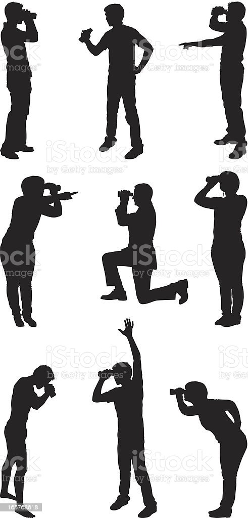 People with binoculars royalty-free stock vector art
