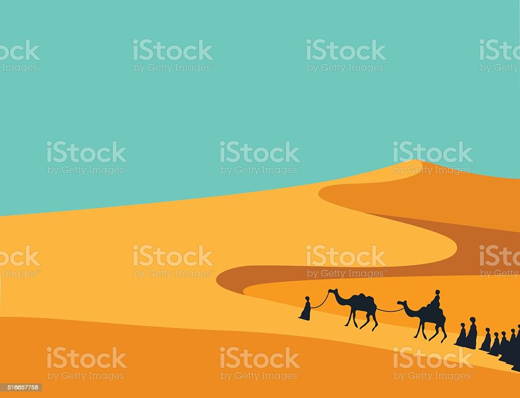 People with Camels Caravan Riding in Realistic Desert vector art illustration