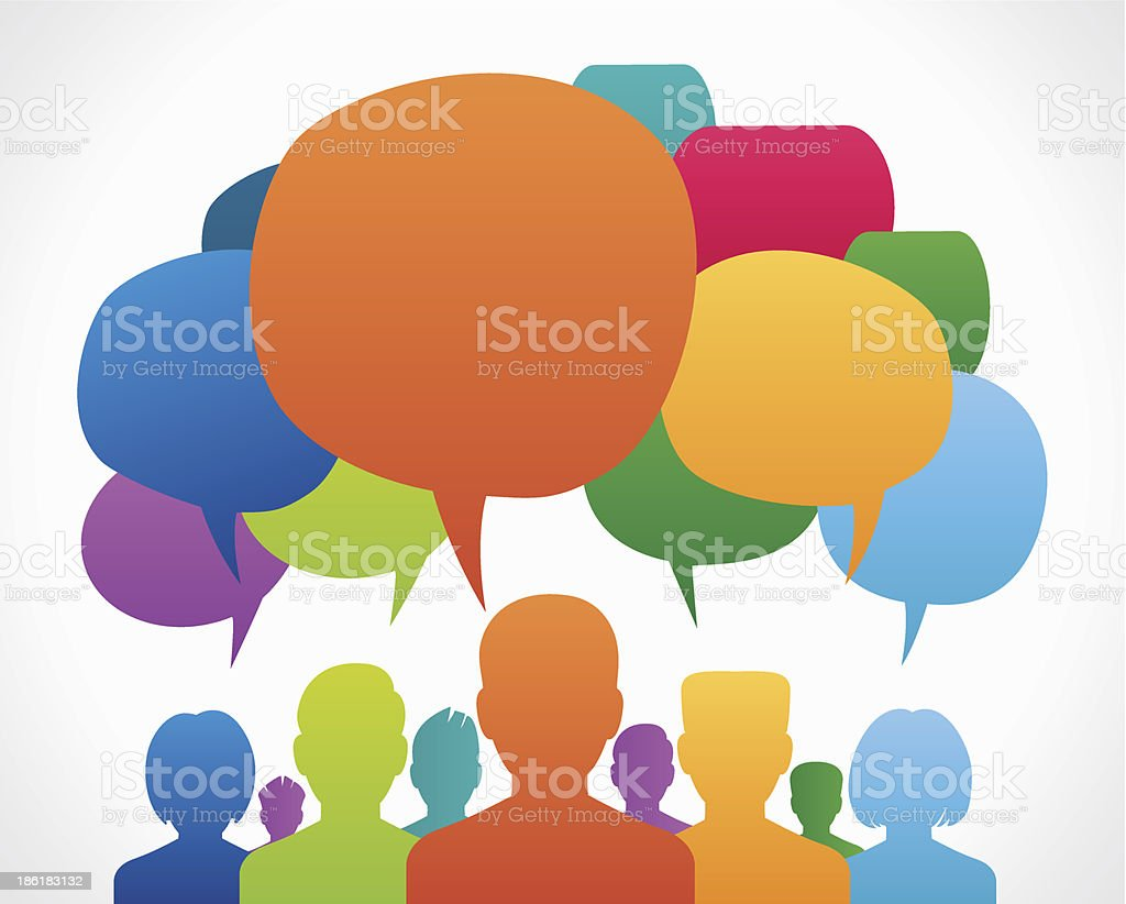 people with dialog speech bubbles vector art illustration