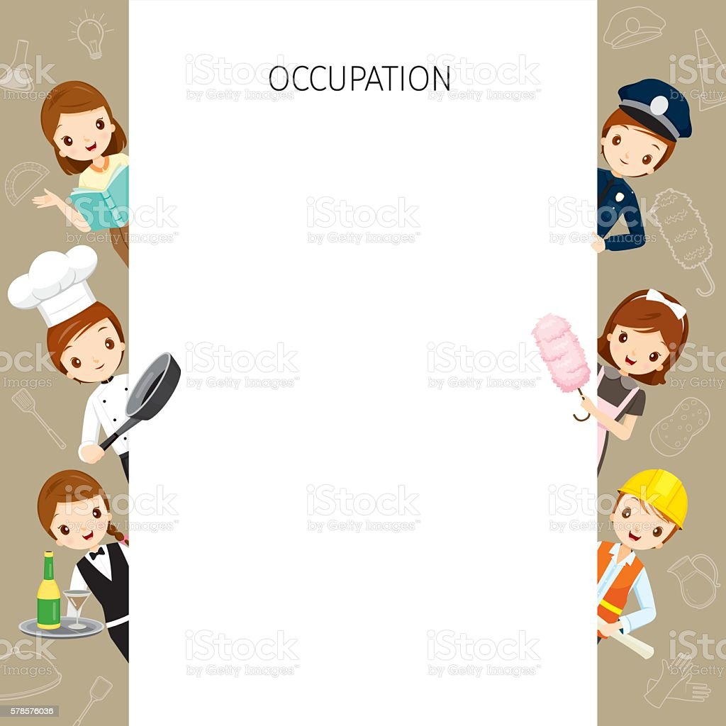 People With Different Occupations Set On Frame vector art illustration