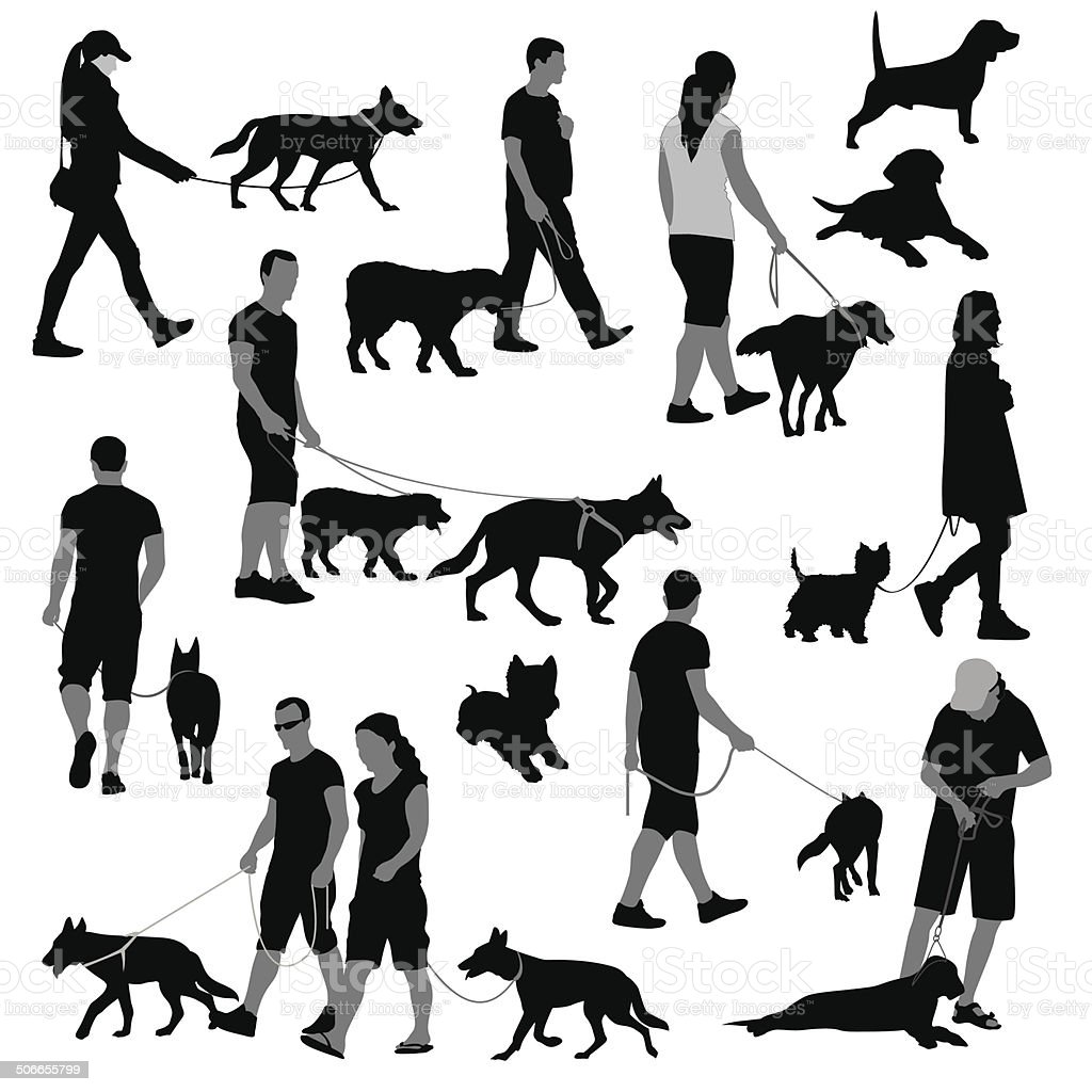 People with dog vector art illustration
