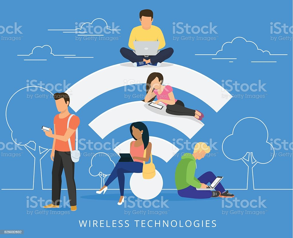 People with gadgets using wi-fi outdoors vector art illustration