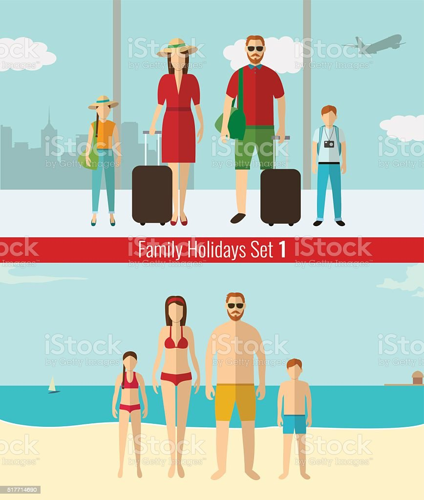 People with kids traveling on vacation. Summer holidays. Vector royalty-free stock vector art
