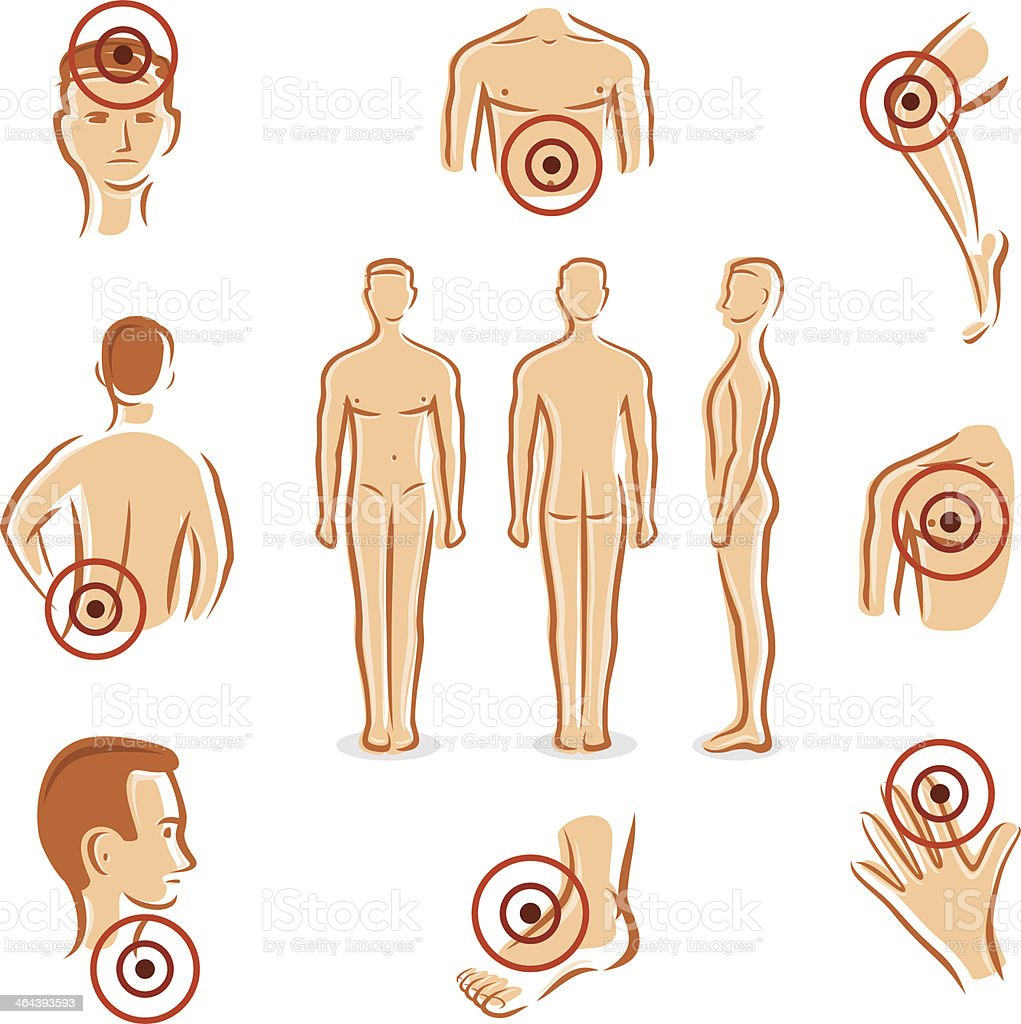 People with pain dots collection. Vector royalty-free stock vector art