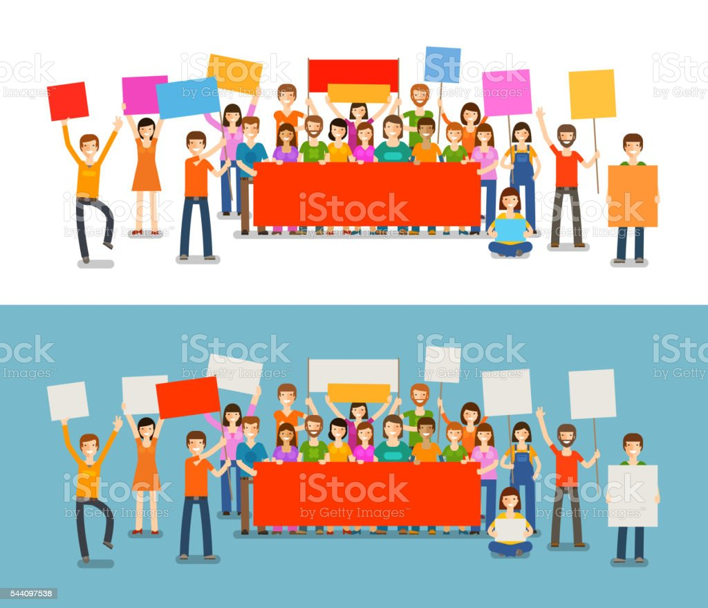 People with placards on demonstration. Holiday, celebration, festivity vector illustration vector art illustration