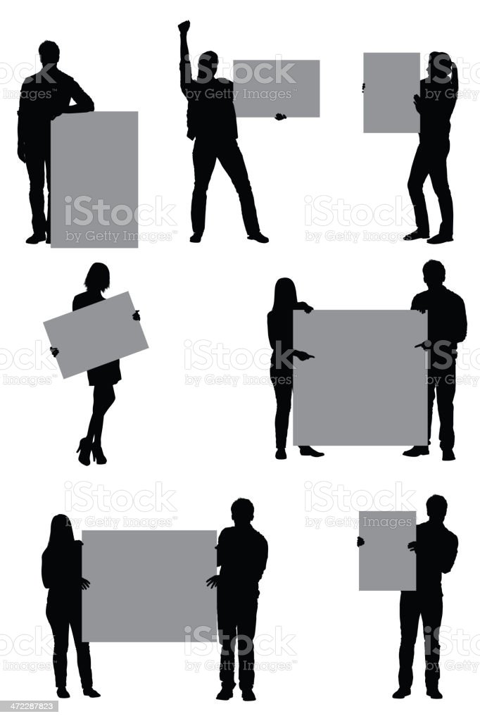 People with placards royalty-free stock vector art