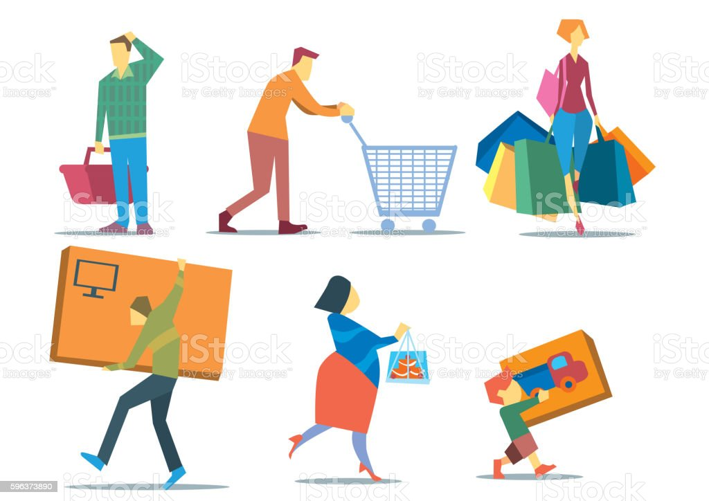 People with Shopping Bags vector art illustration