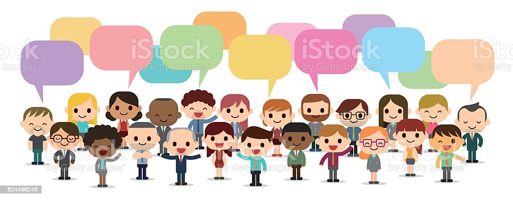 People with speech bubbles vector art illustration