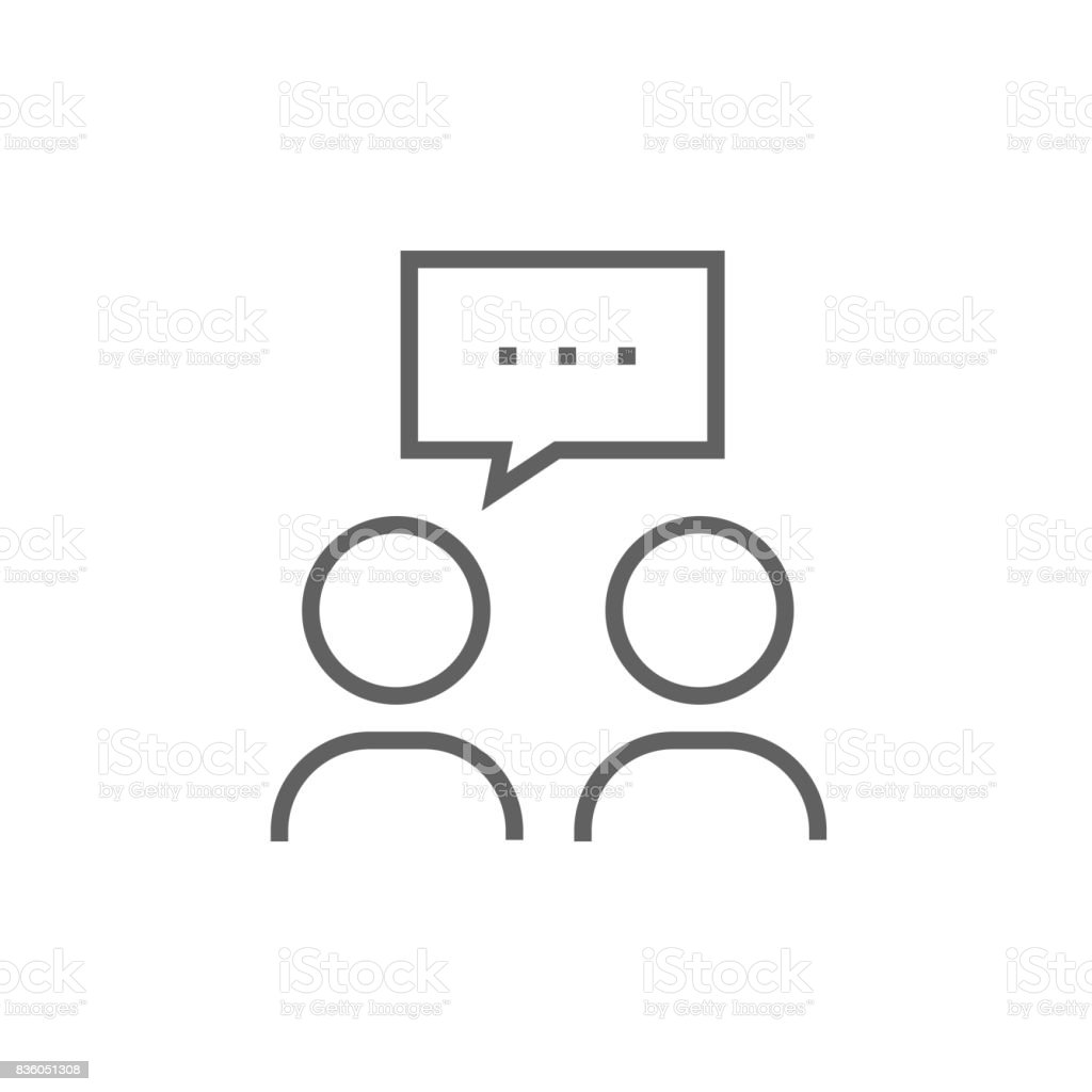 People with speech square above their heads line icon vector art illustration