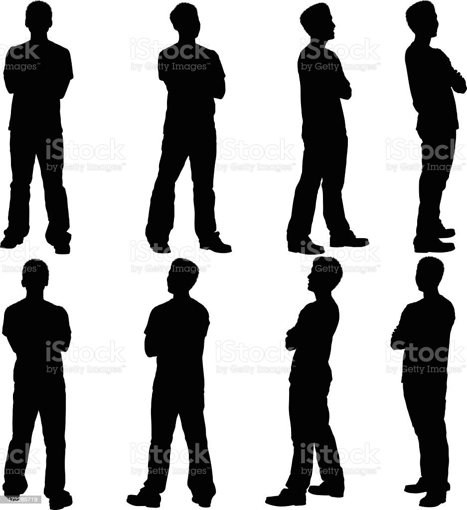 People with their arms crossed vector art illustration