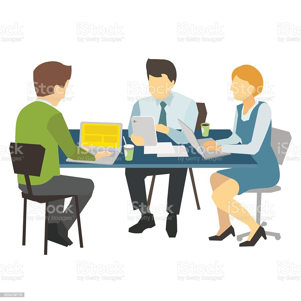 People work at the table. vector art illustration