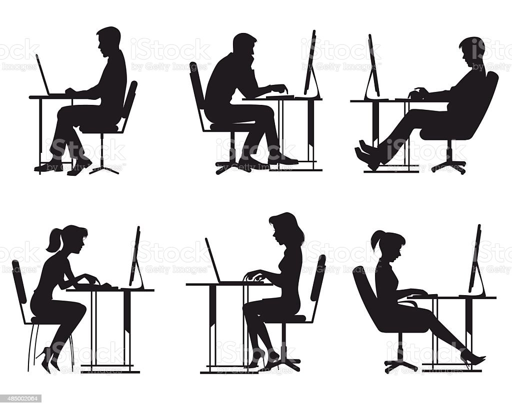 People working at computer vector art illustration