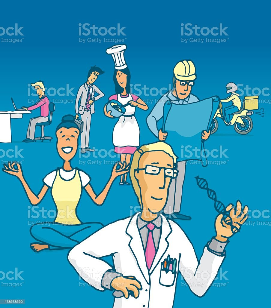 People working at jobs and professions vector art illustration