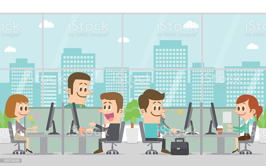 People working in the office vector art illustration