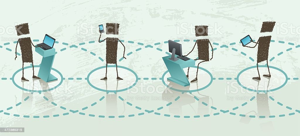 People working on network, linear vector art illustration