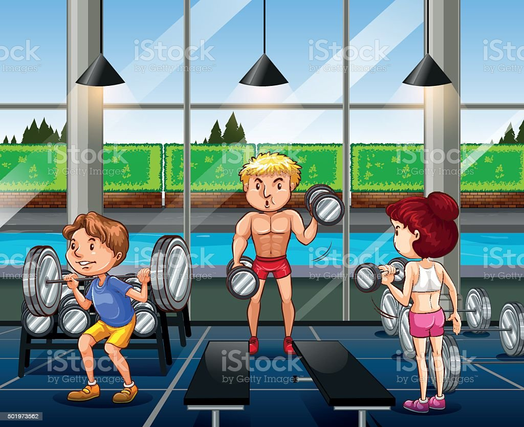 People working out in the gym vector art illustration