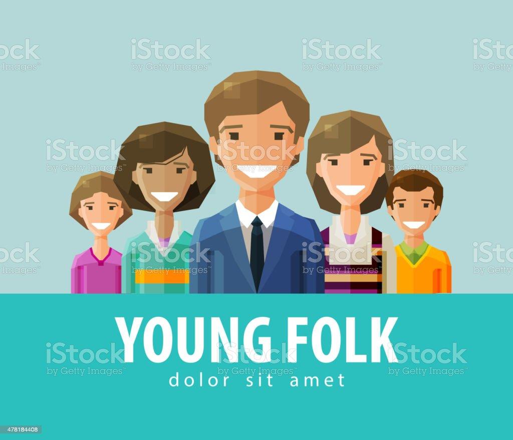 people, young folk  vector logo design template. society, company, community vector art illustration