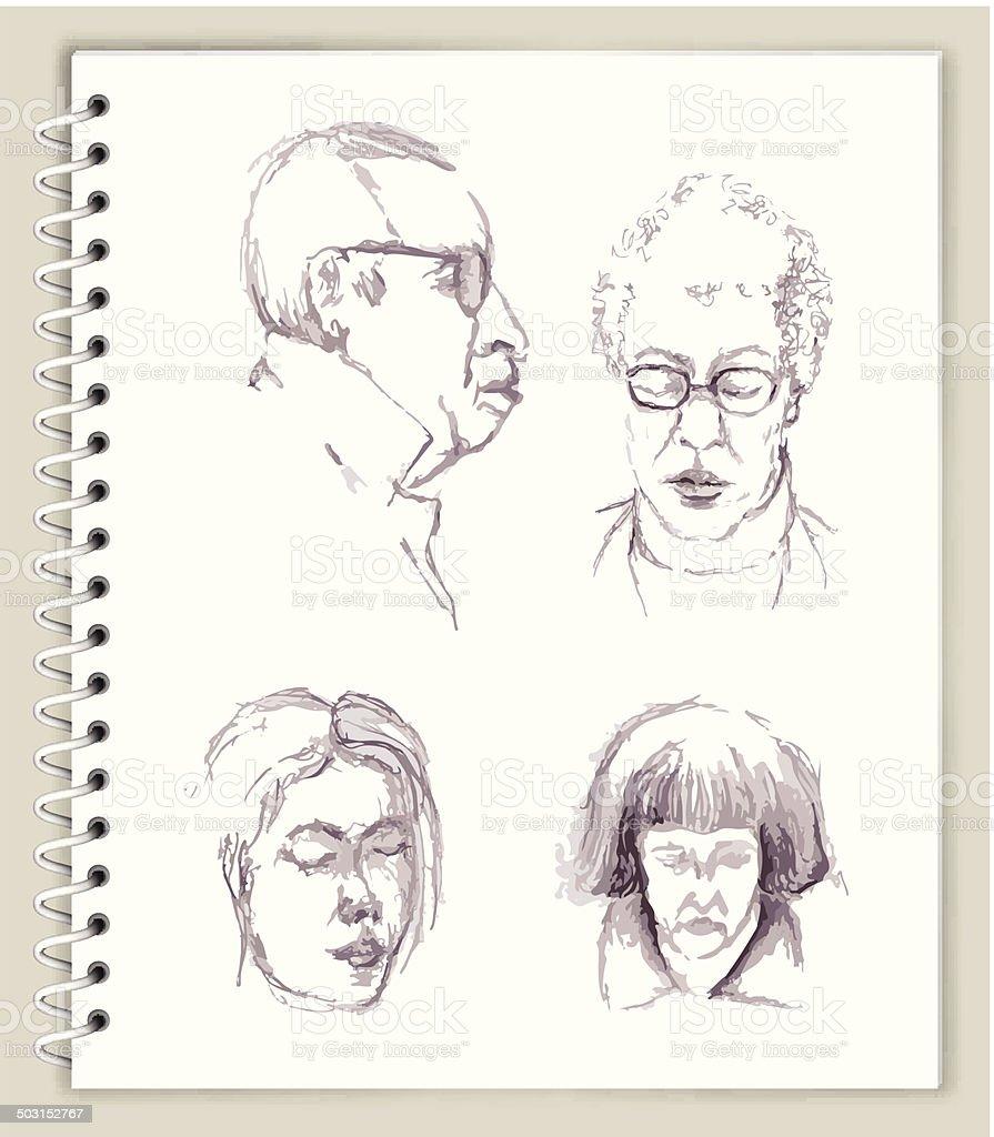 Peoples Faces Drawing on Art Sketcbook royalty free vector art royalty-free stock vector art