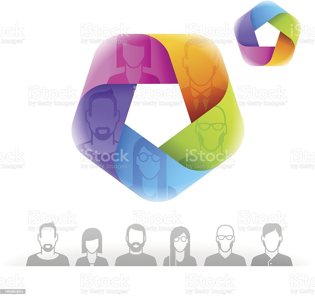 People's profile in mobius vector art illustration