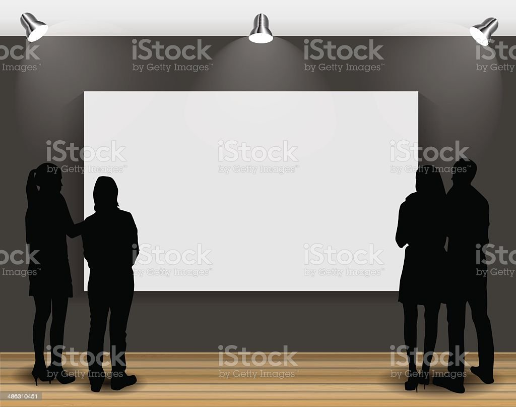 Peoples Silhouettes Looking on the Empty Frame in Art Gallery royalty-free stock vector art