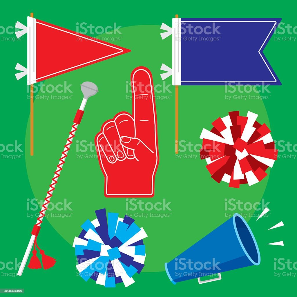 Pep Rally Items Flat Set vector art illustration