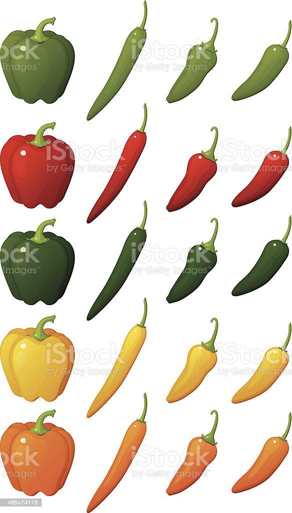 Pepper Assortment vector art illustration