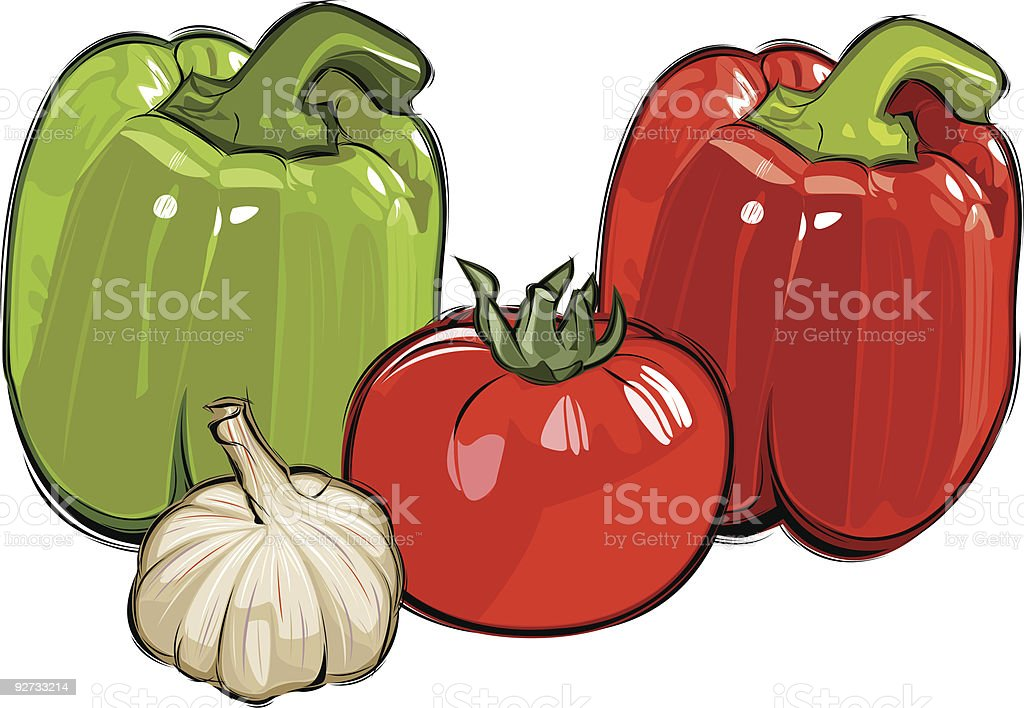 pepper garlic tomato royalty-free stock vector art
