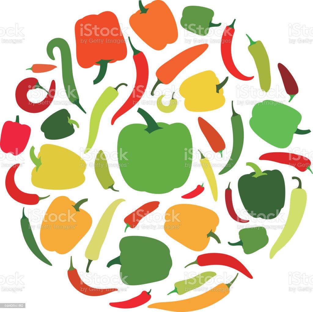 pepper icon set, vector illustration vector art illustration