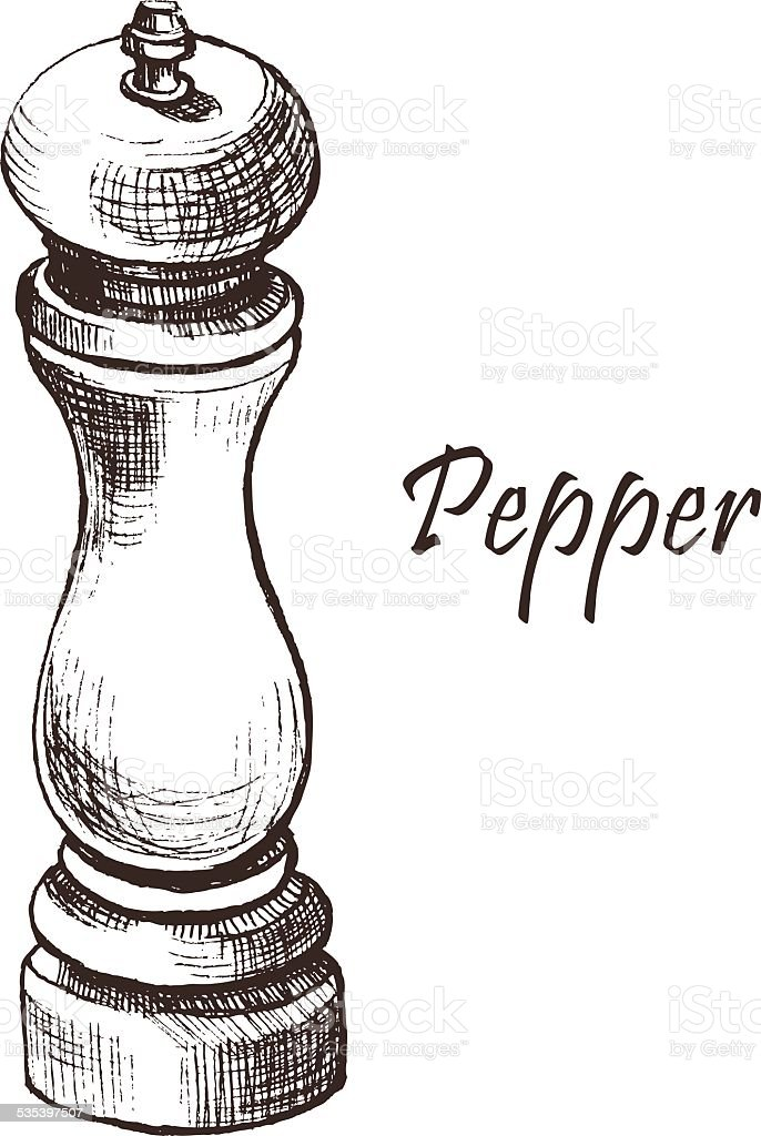 pepper mill vector art illustration