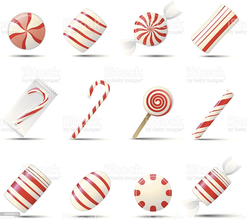 Peppermint Candy Icons vector art illustration