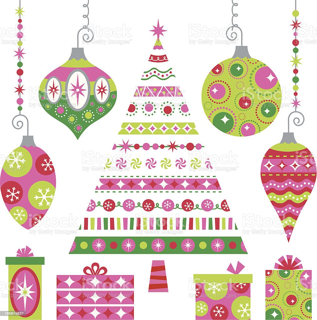 Peppermint Christmas in Retro royalty-free stock vector art