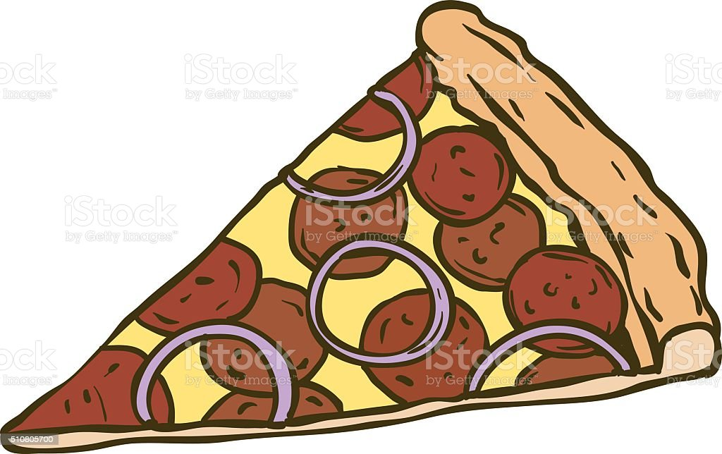 Pepperoni Pizza Slice vector art illustration