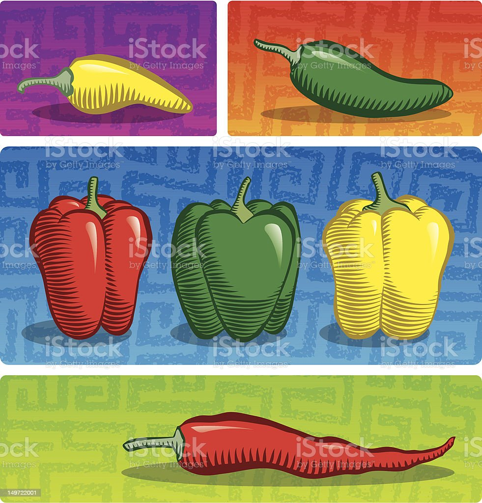 Peppers! (Color) royalty-free stock vector art