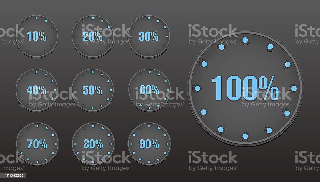 Percent circle buttons royalty-free stock vector art