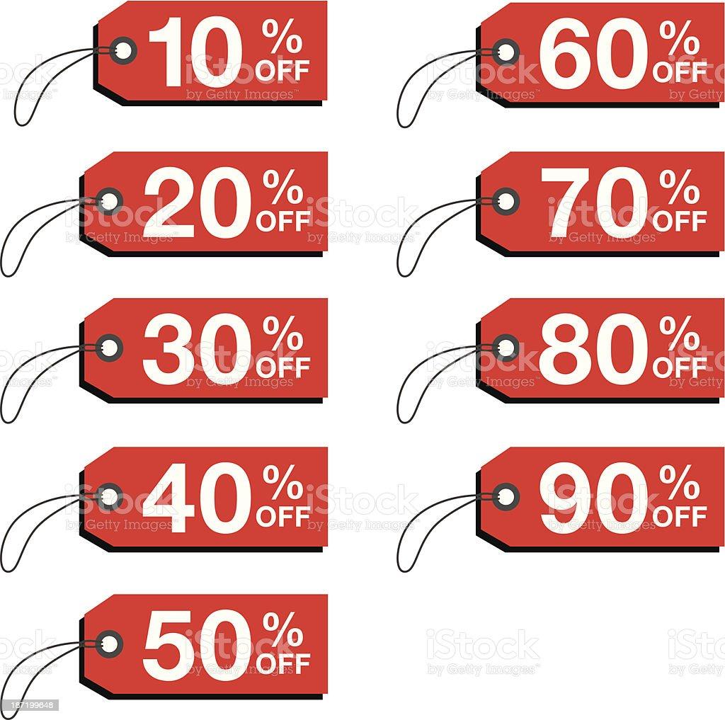 Percent Off Tags vector art illustration