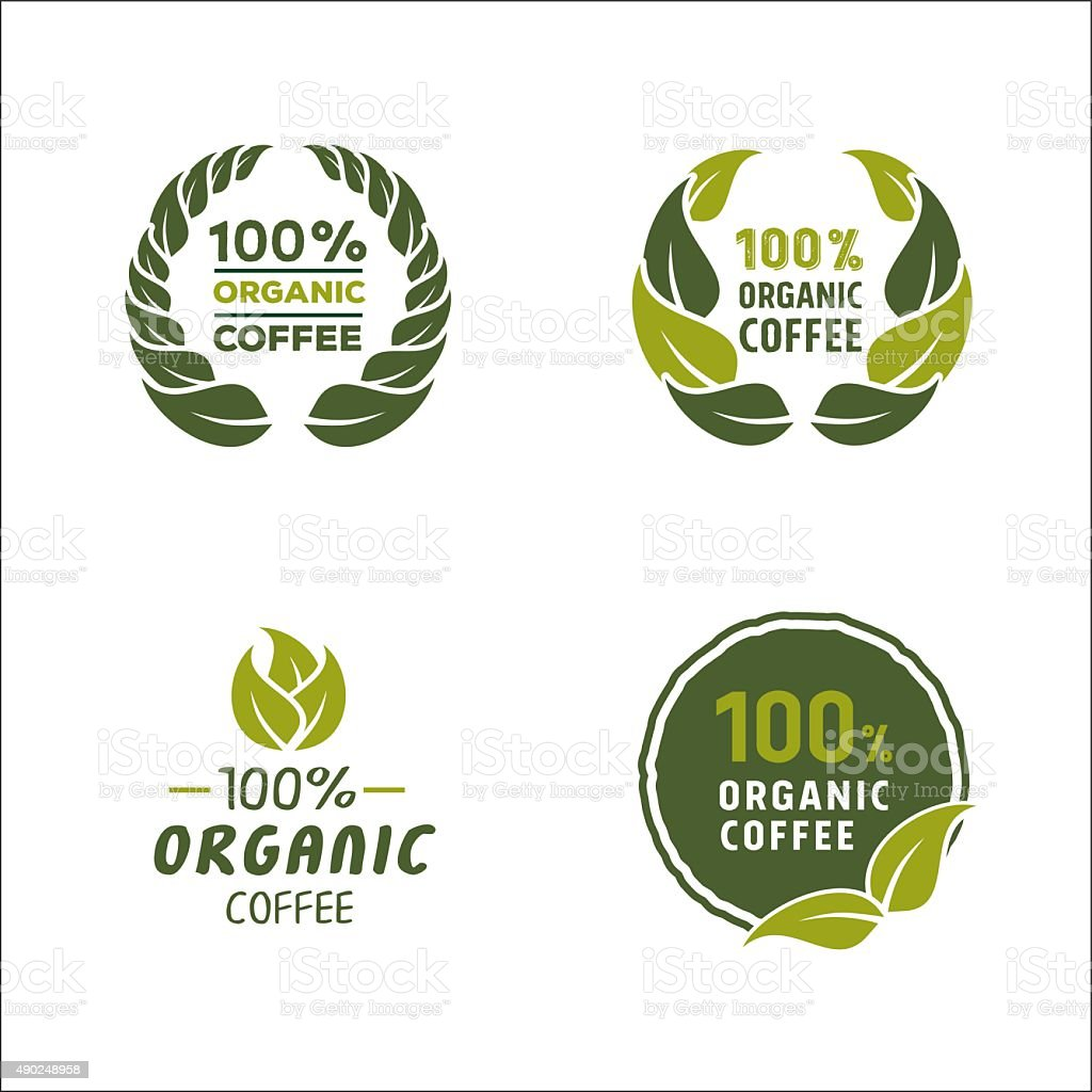100 percent organic coffee logo and sign vector art illustration