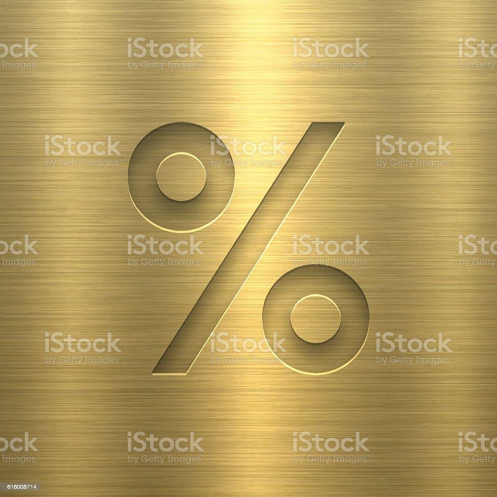 Percent Symbol % - Symbol on Gold Metal Texture vector art illustration
