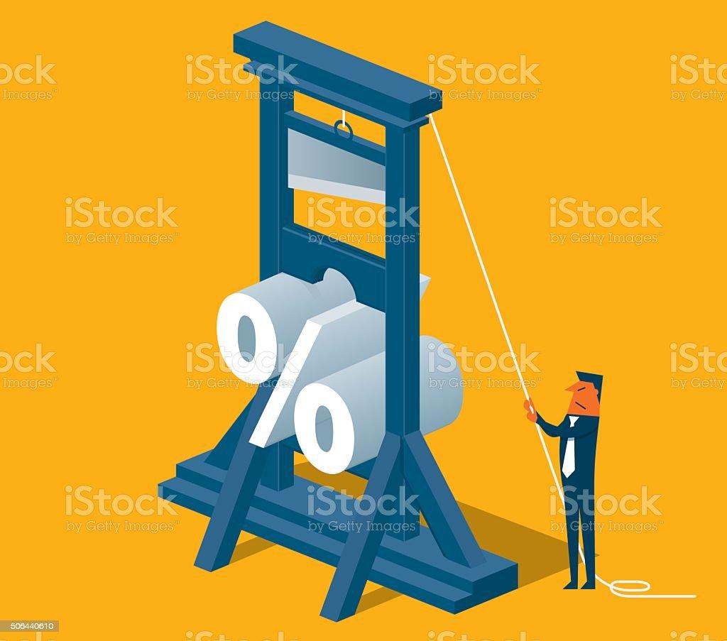 Percentage Cut Guillotine vector art illustration