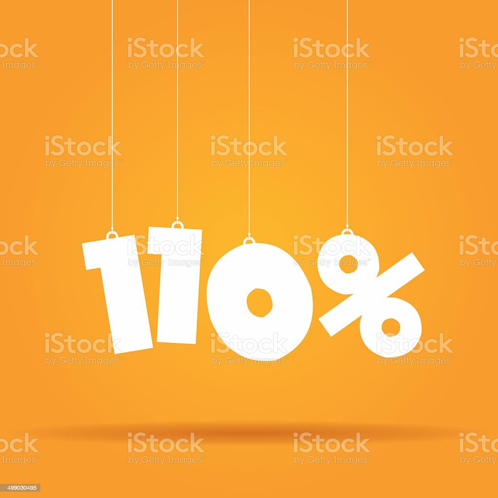Percentage hanging label vector art illustration