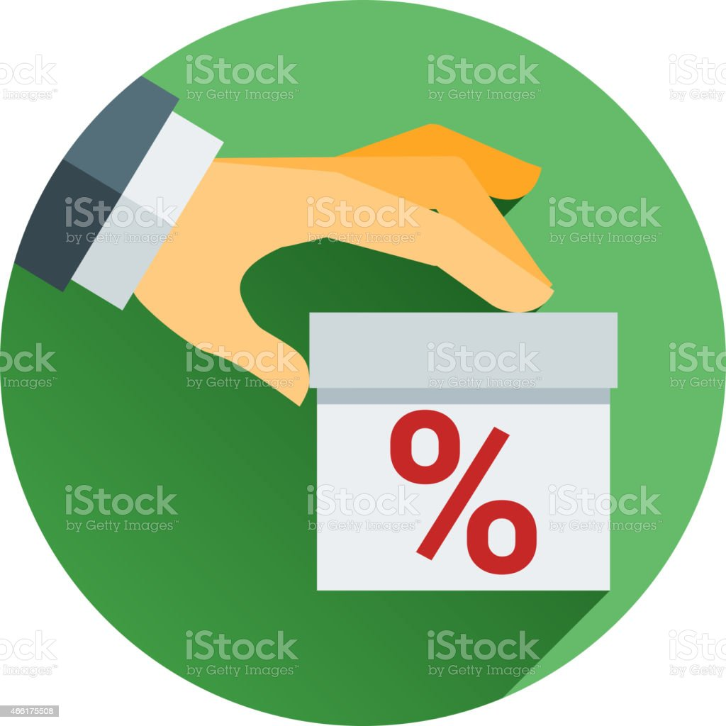 percentage on hand web icon. vector design vector art illustration