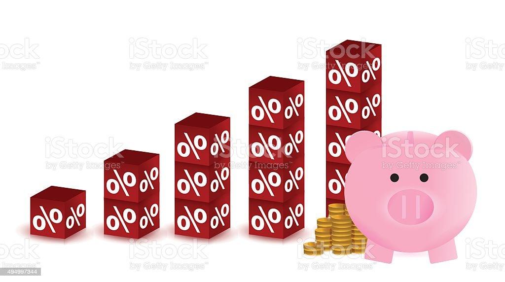 Percentage savings graph vector art illustration
