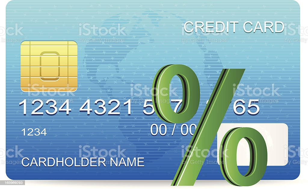 Percentage Sign and Creditcard royalty-free stock vector art