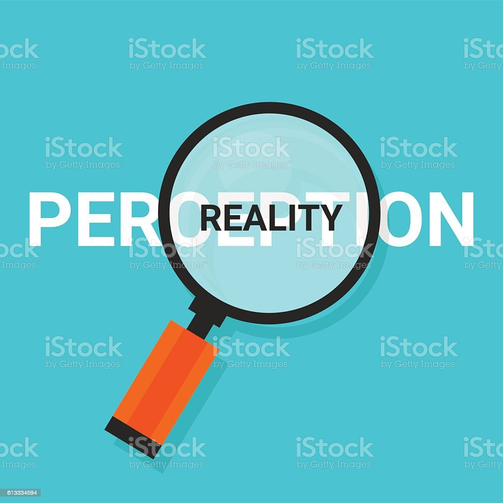 perception reality magnifying find truth vector art illustration