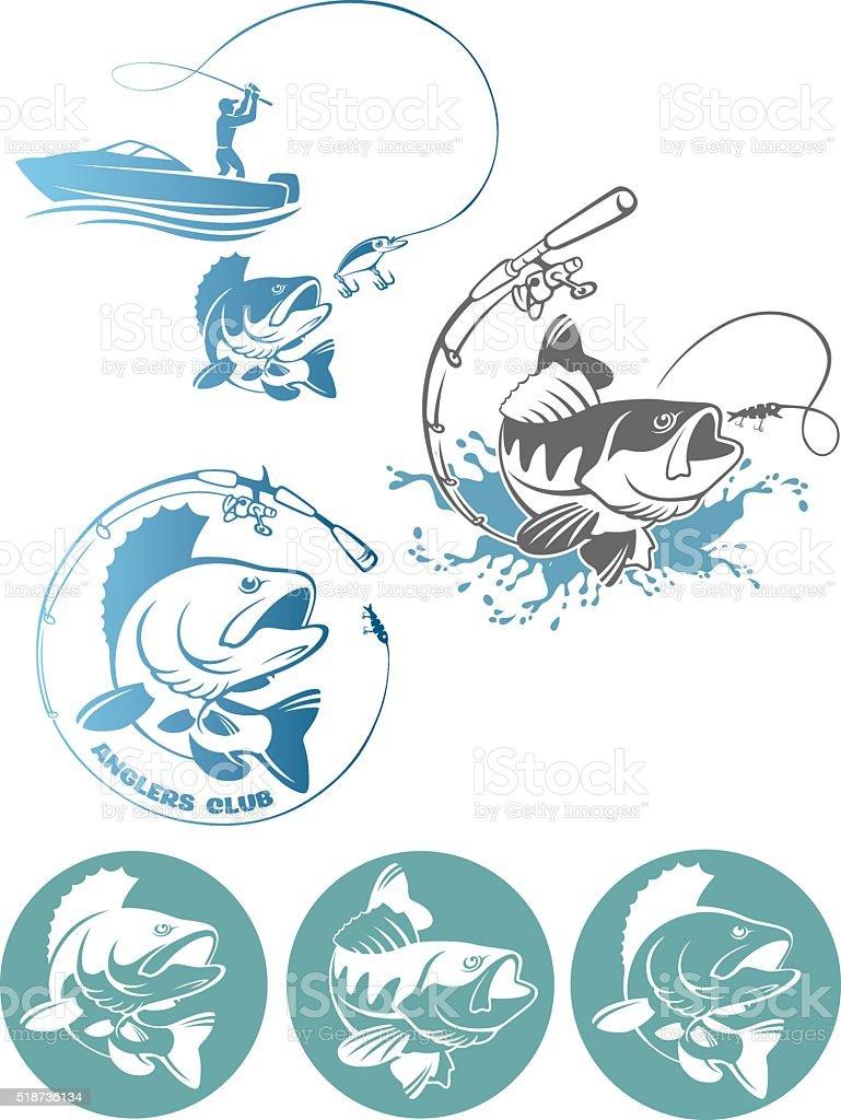 perch fishing logo vector art illustration