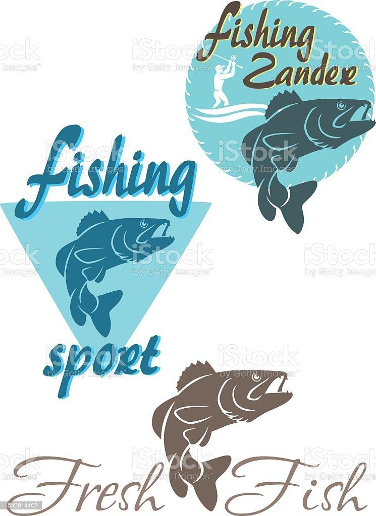 perch fishing vector art illustration