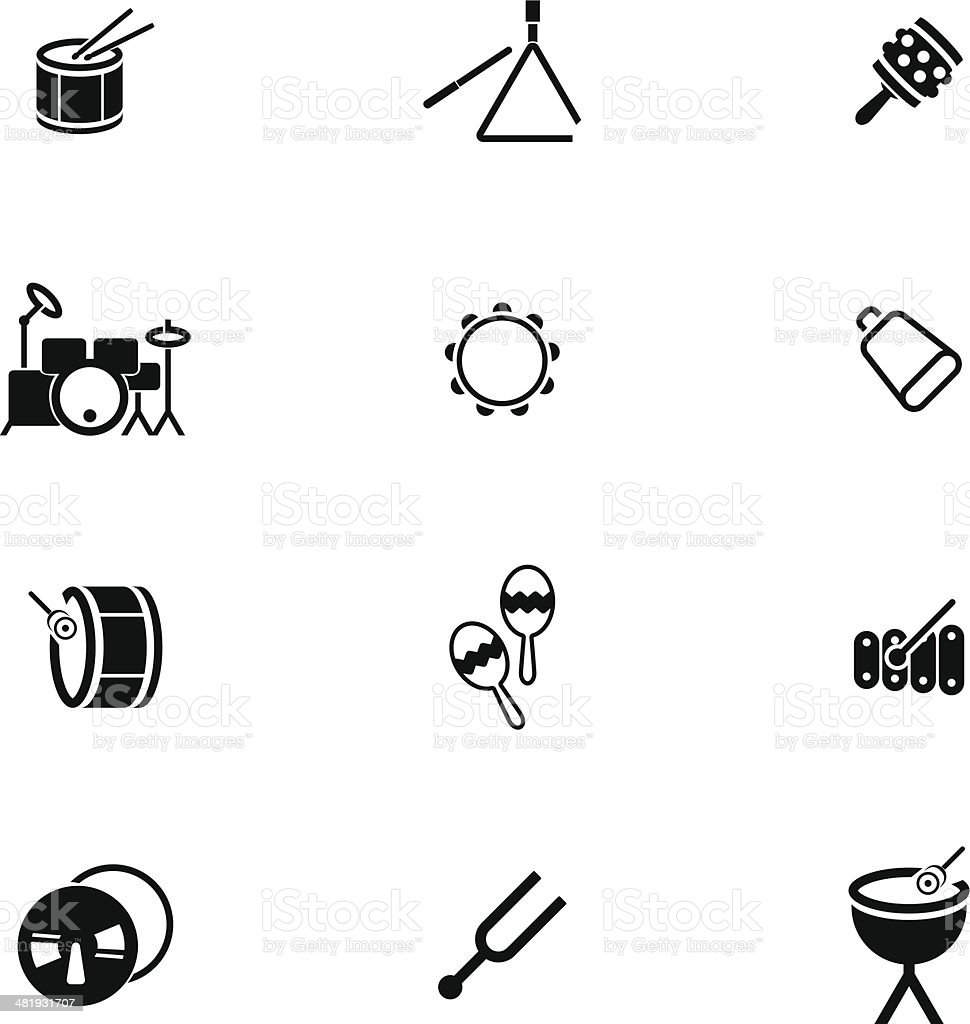 Percussion Icon Set vector art illustration