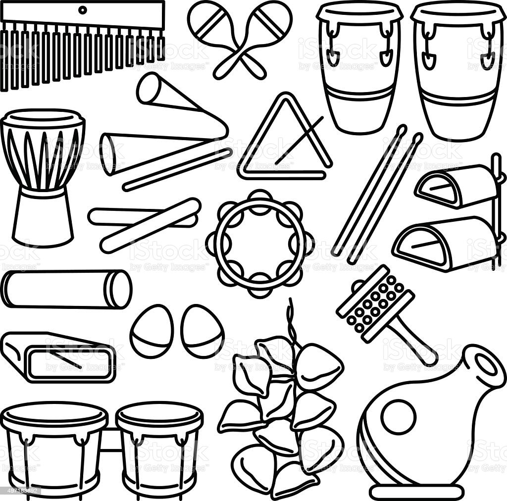Photo To Line Art Converter Online : Percussion instruments stock vector art istock