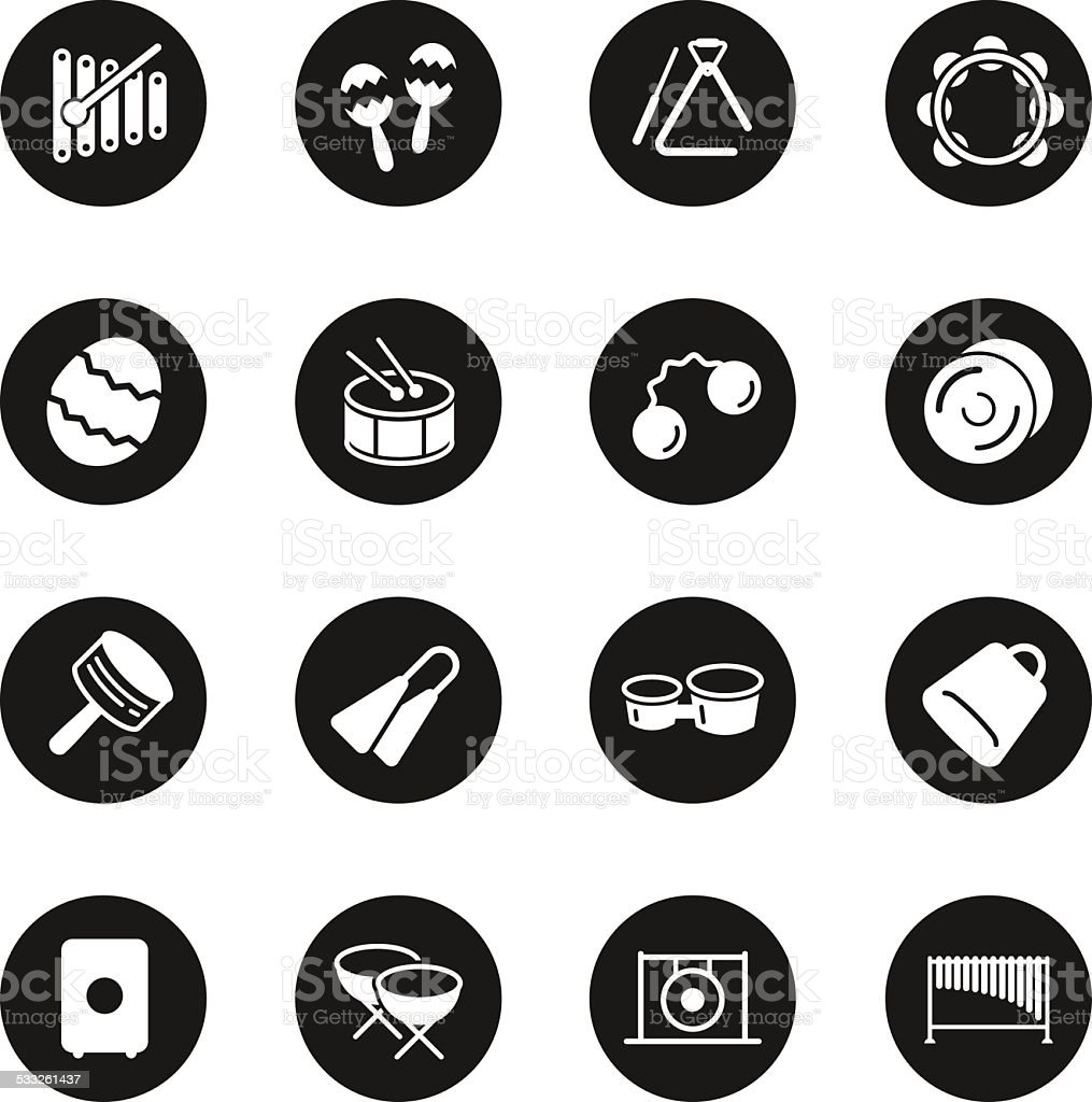 Percussion Music Icons - Black Circle Series vector art illustration